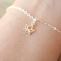 The Tiny Lotus Bracelet - Sterling Silver