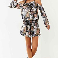 Blue Life Floral Smock-Waist Dress- Black Multi