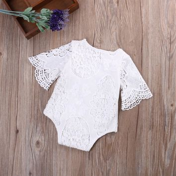 White Lace Onesuit Romper for Baby Girls