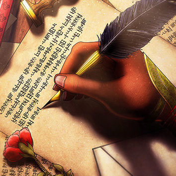 Fantasy Art / Writer Medieval Magic / Ancient Tome Feather / Original Digital Illustration / Wall Print / Calligraphy Gift Decor A4 A3
