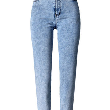 Blue Light Wash High Waist Boyfriend Jeans