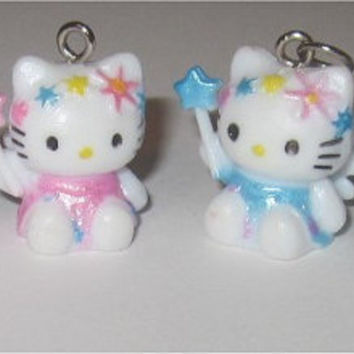 4pc Hello Kitty Charms Lot Fairy Faeries Pink Blue Magic Wand Wholesale Jewelry Making Supplies Sanrio 19mm