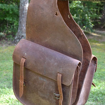 Vintage Leather Saddle Bags Horse Accessory Brown Worn Rustic PanchosPorch
