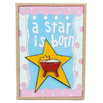 "Wall Art Hanging Burlap ""a Star Is Born"" Mdf10x14 - 24 Units"