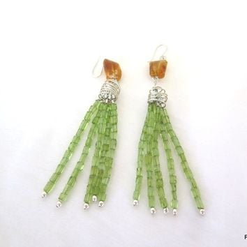 Long peridot tassel earrings with gold citrine accents, pzm designs fine jewelry
