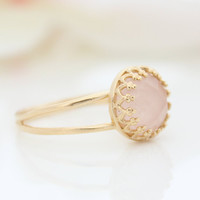 Rose quartz ring, Delicate gold ring set with pink gemstone, Spring Jewelry