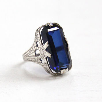 Vintage Art Deco Sterling Silver Ostby & Barton Created Sapphire Ring - 1920s Size 4 Filigree Hallmarked OB Emerald Cut Blue Stone Jewelry