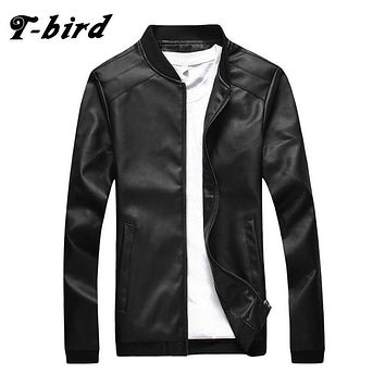 T-Bird Brand Clothing Men Jacket 2017 Solid Color Leather Jacket Tactical Hooded Casual Slim Male Military Polyester Coats Men