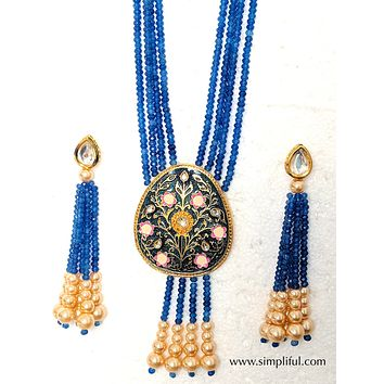 Peacock blue bead Meenakari work pendant necklace and Long kundan stud Earring