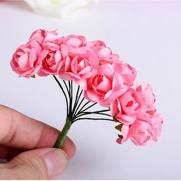 144PCS Mini Artificial Rose Flowers Bouquet Wedding Decoration Paper Flower For DIY Scrapbooking Flower Ball Cheap Flores