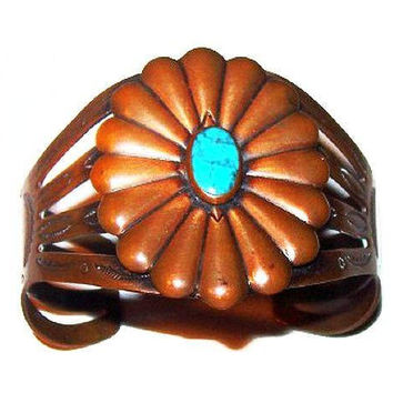 "Turquoise Cuff Bracelet Signed ""Bell Copper"" Native American Symbols 1 3/4"" W Vintage"