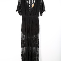 Dusk Lace Maxi Dress, Black