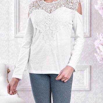 New White Patchwork Lace Cut Out Round Neck Long Sleeve Casual T-Shirt