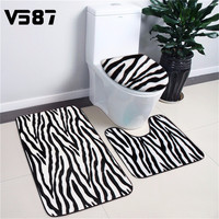 3Pcs Bathroom Mat Bath Rug Set Animal Skin Print Contour Mat Lid Cover Washroom Foam Carpet Mesh Bathroom Toliet Rugs