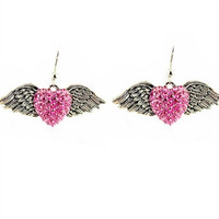 Rhinestone Heart Wing Earring
