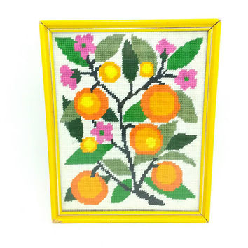 Bright Orange Tree & Flowers Framed Needlepoint, Vintage Art, Wall Hanging, Shelf Bookcase Decor,Home Kitchen Office Room,Yellow Green Pink