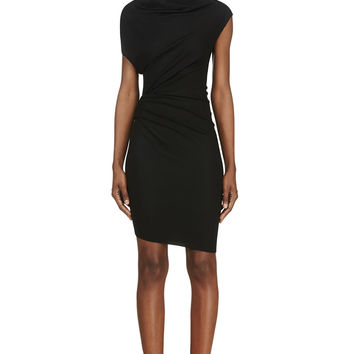 Helmut Lang Black Draped Wool Sonar Dress