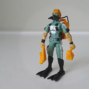 1980s GI Joe Figure / Toy, Wet Suit, w/ All Accessories - Hasbro, action figure, orange, nautical, scuba, retro, old skool, for him