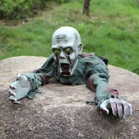 DCCKDZ2 Free Shipping 1Piece Halloween Party Prop Animated Crawling Zombie Ghost Skull Eyes with Lights Party Decoration