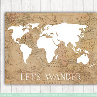 Let's Wander Print 8x10 Print Vintage Print - Rustic Map Print, Vintage Home Decor, World Print
