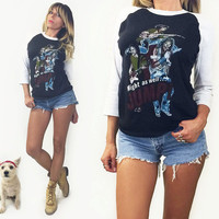 Vintage 1984 Van Halen Raglan Baseball Concert Tee || Might As Well Jump! 80s T-Shirt || Smoking Baby Angel || Size Small Medium 50 50 Shirt
