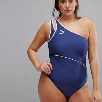 Puma Exclusive To ASOS Plus One Shoulder Swimsuit at asos.com