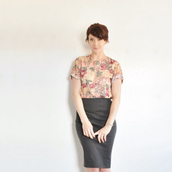 desert rose blouse . burnt pink tan summer floral shirt .medium
