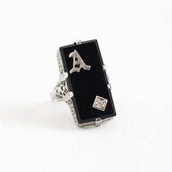 Antique 18k White Gold Filigree Black Onyx Diamond Letter A Ring - Vintage Art Deco 1920s Size 3 1/2 Rectangular Gem Initial A Fine Jewelry