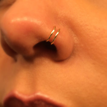 6mm Tiny double Gold Fake Nose Ring No Piercing Needed