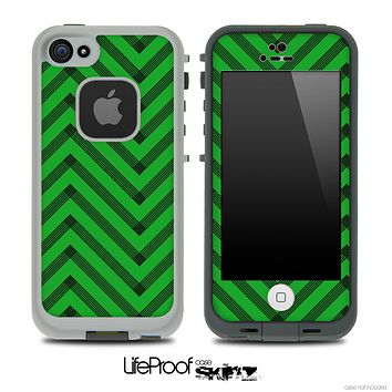 Sketchy Chevron Pattern Black and Green Skin for the iPhone 5 or 4/4s LifeProof Case