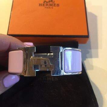 Authentic Hermes H Bracelet Clic Clac Wide Pink
