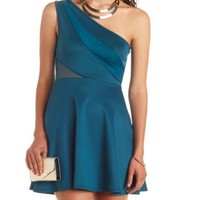 Mesh Cut-Out One Shoulder Skater Dress by Charlotte Russe - Teal