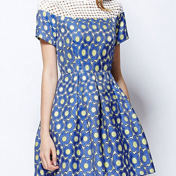 Blue and White Floral Grid Cut-out Neckline Pleated Mini Dress