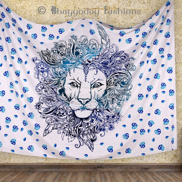 Ombre Judha Rasta Lion Mandala Tapestry Wallhanging, Boho Throw Bedspread, Decor Indian Tapestries, Gypsy Table Cloth, Room Decor