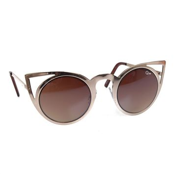 Quay Gold Metal Rounded Lens Invader Cat Eye Sunglasses