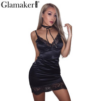 Sexy sleeveless elegant satin dress women Lace evening party dress sundress Summer dress short dress vestidos