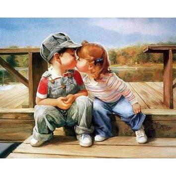 Frameless Kissing DIY Painting By Numbers Figure Painting Kits Acrylic Picture Canvas Painting For Unique Gift Wall Art Picture