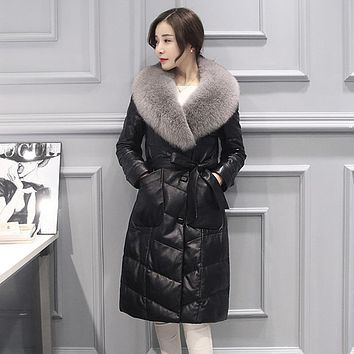 2017 new winter genuine leather jacket women coats women down jacket slim long real Sheep leather coats natural fox fur Collar