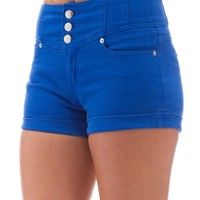 Classic Designs Juniors High Waisted 5 Pocket Stretch Cotton Short Shorts in Surf Blue Size: 27