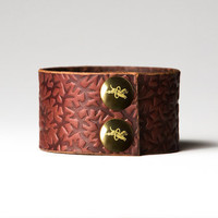 Chestnut Brown Leather Cuff  - Embossed with Thorns - Brass Fasteners - 1.5 Inches Wide