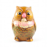 Owl Piggy Bank Hipster Mod Kitsch Retro Bird Brown and Neon Pink / Vintage 60s 70s