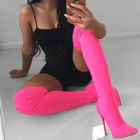 Fluorescent Over Knee Boots