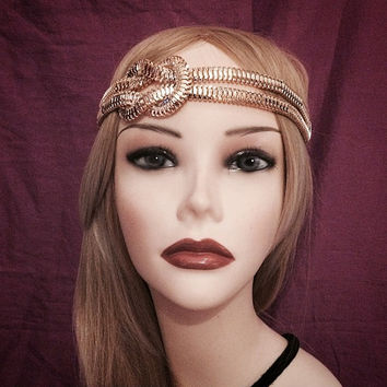 1920's inspired gold grecian medusa costume chain knot flapper headband 20s art deco 1920s gatsby goddess headpiece head piece elastic