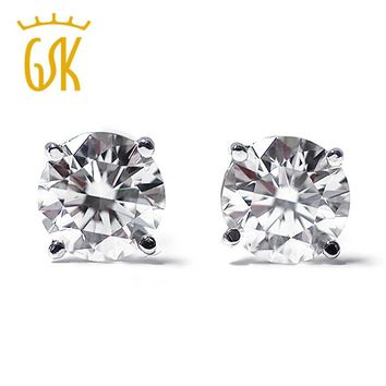 GemStoneKing 1/3 Ct Round Cut  Natural Diamond Stud Earrings Solid 14K White Gold Women's Solitaire Earrings