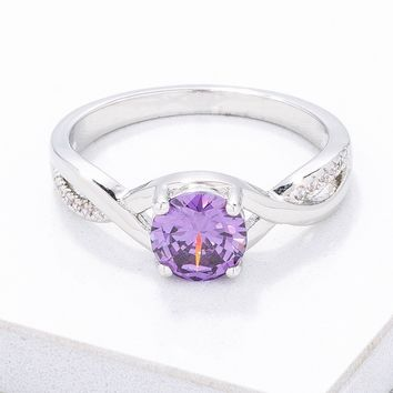 Simply Beautiful Twisted Purple CZ Ring