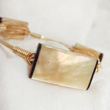 Champagne Mother of Pearl Gemstone Wire Wrapped Bangle -  Semi Precious Bead on gold tone wire