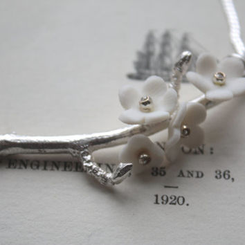 Summer blossom solid sterling silver necklace with porcelain flowers - cherry blossom branch - silver twig necklace