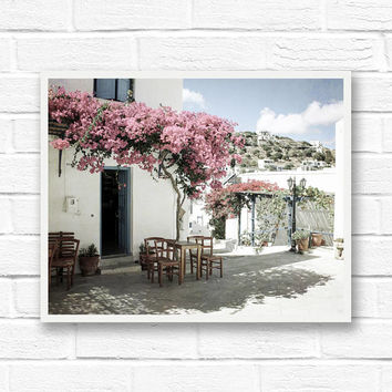 Greece photography, travel print, dreamy print, Paros Greece print, Greek islands, Europe photography, Mediterranean decor, pink flowers