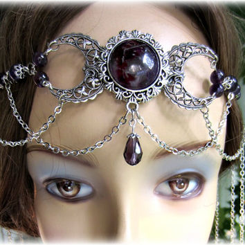 Triple Moon Goddess Amethyst Headdress, Handfasting, Black Onyx Headpiece, Rose Quartz Circlet, Choose Gemstone