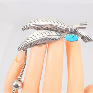 Silver Southwest Feather Brooch, Howlite Stone, Vintage Southwest Jewelry